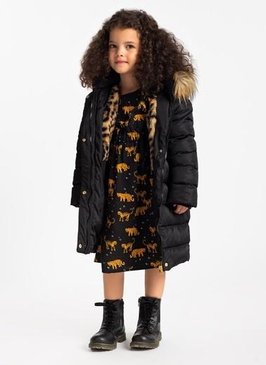 Limon Company Kapitoneiçi Leopar Desenli Kürklü Kız Çocuk Mont Siyah